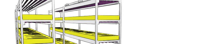 Pěstební nádrže pro indoor hydroponické vertikální farmy